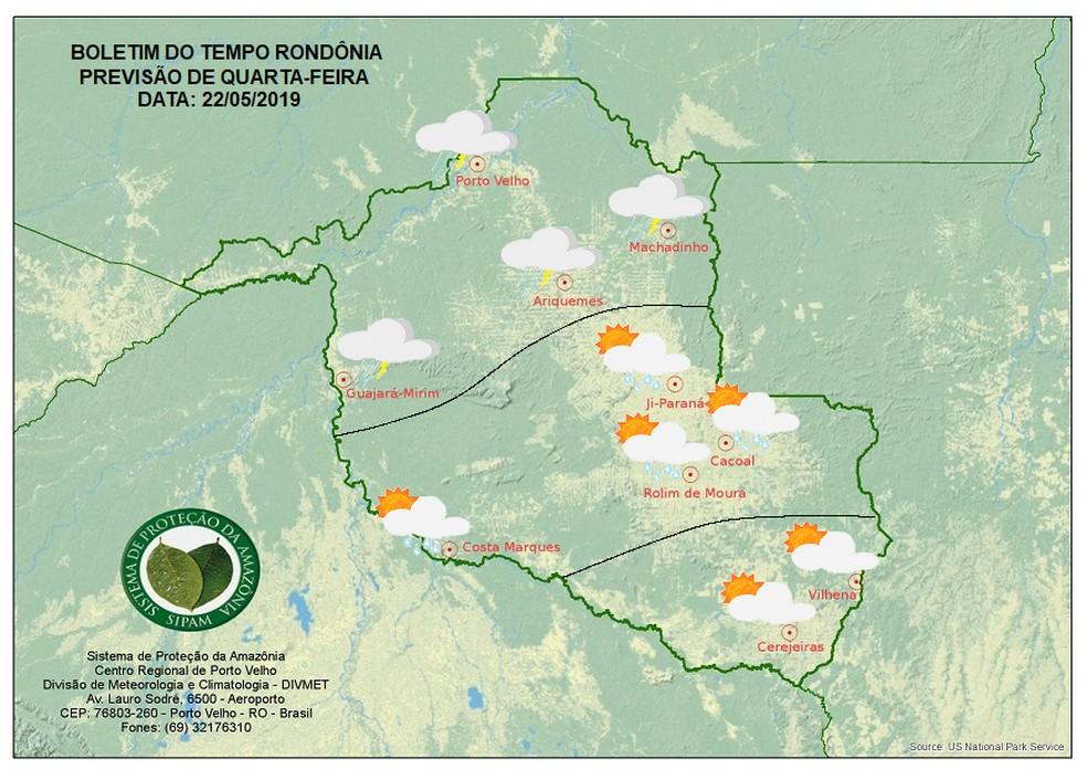 Previsão do tempo para o dia 22 de maio, RO — Foto: Sipam/Divulgação