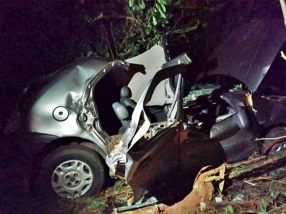 Jovem de 18 anos morre após bater carro contra árvore em Penápolis — Foto: Gilson Ramos/Jornal Interior/Divulgação