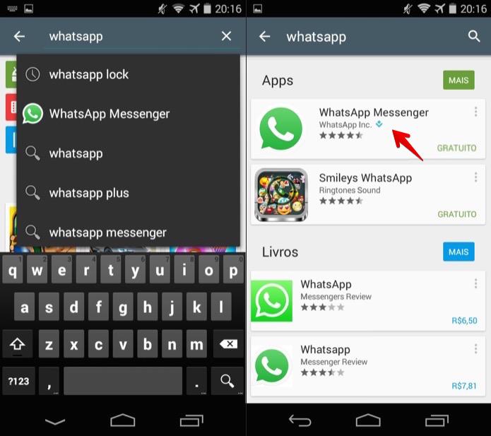 Buscando por aplicativos na loja do Android (Foto: Reprodução/Helito Bijora)