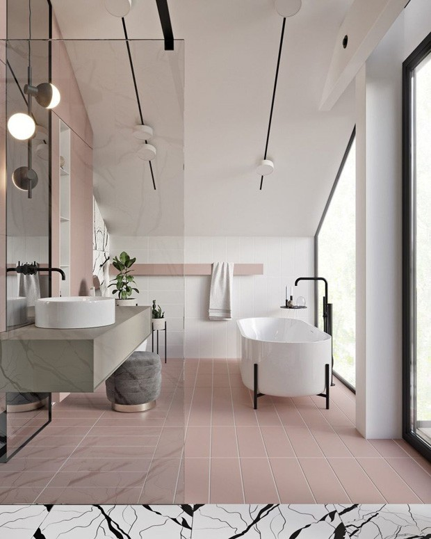 Décor do dia: banheiro rosa e minimalista (Foto: Salacia of London)
