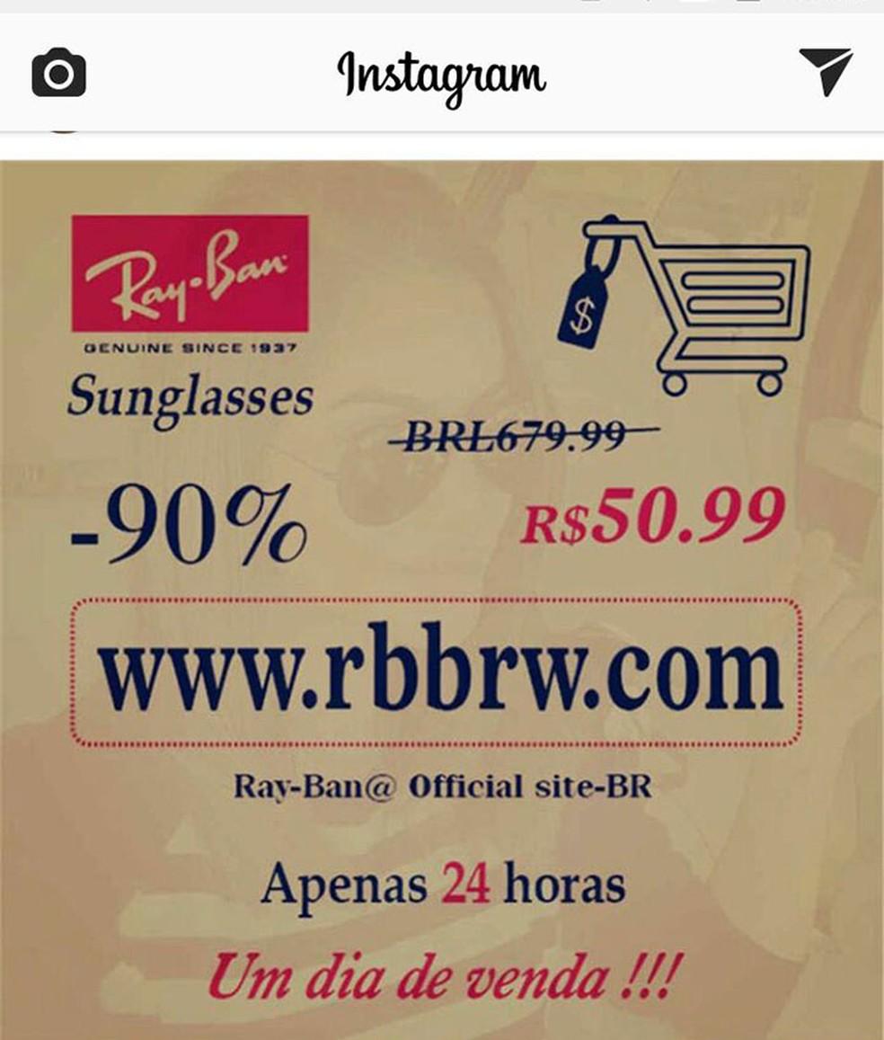 Legenda: Exemplo de publicação no Instagram divulgando site com promoções falsas da Ray-Ban. (Foto: Divulgação/Instagram)
