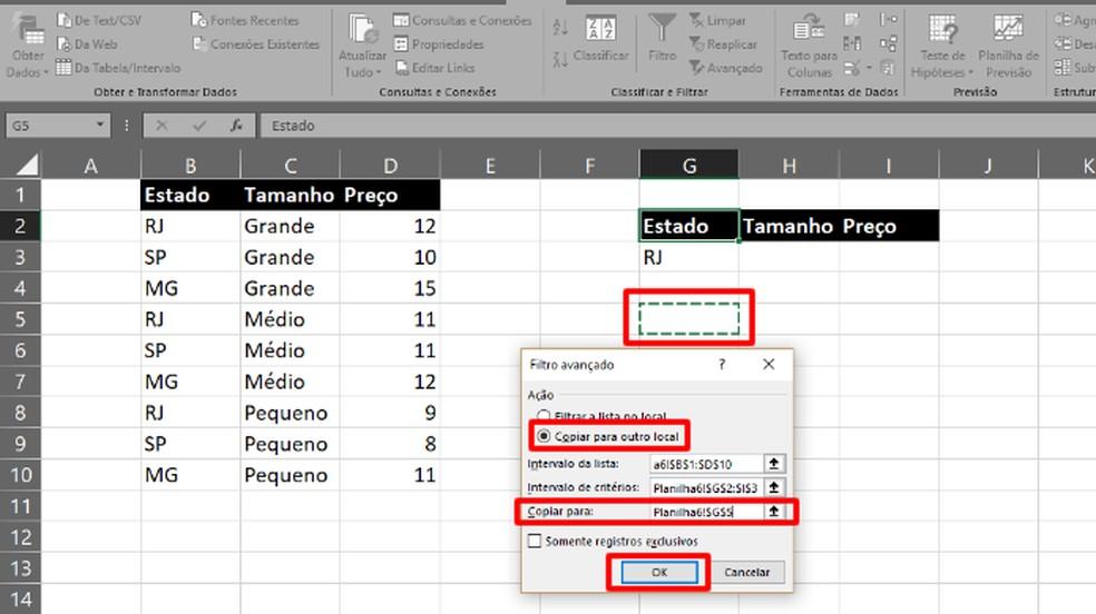 """Marque """"Copiar para um novo local"""" e escolha a célula em """"Copiar para"""" (Foto: Reprodução/Daniel Ribeiro)"""