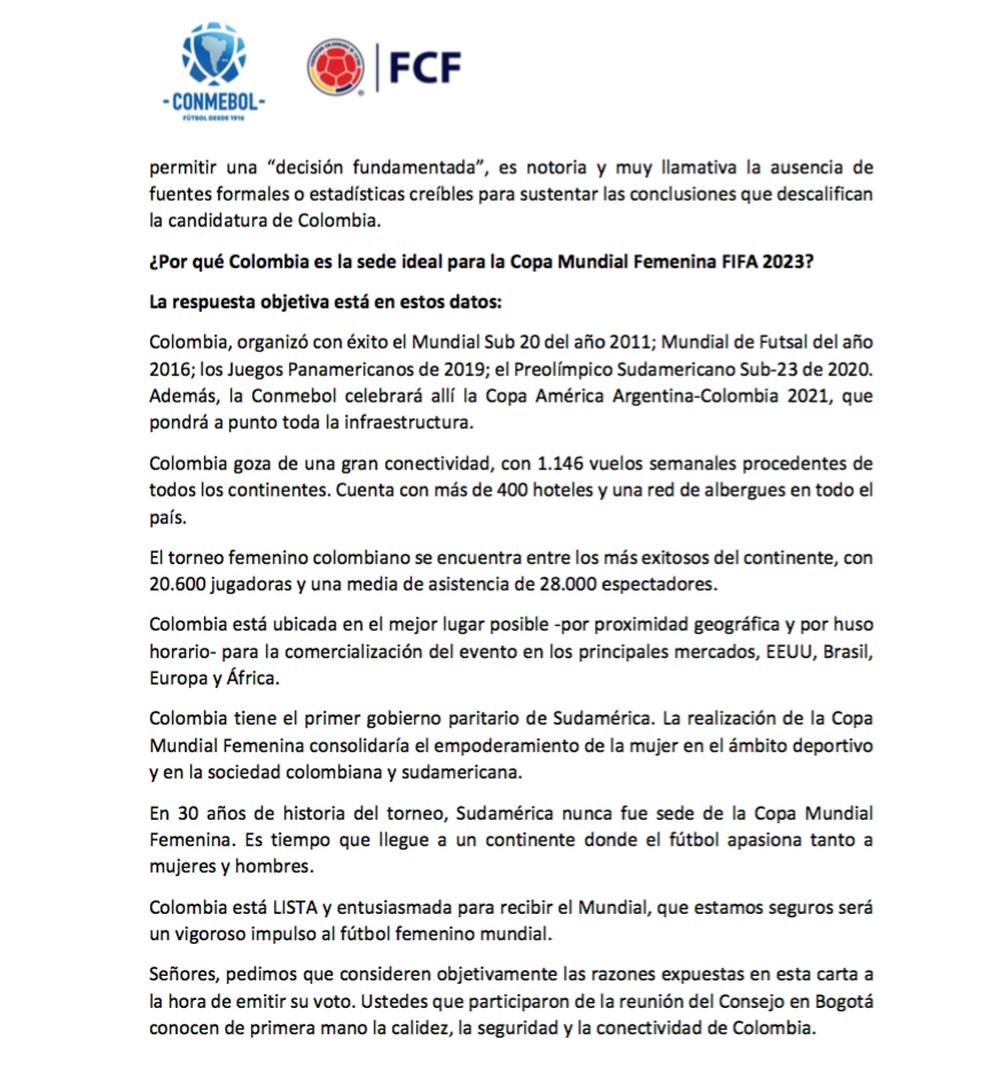 Carta da Conmebol à Fifa — Foto: reprodução