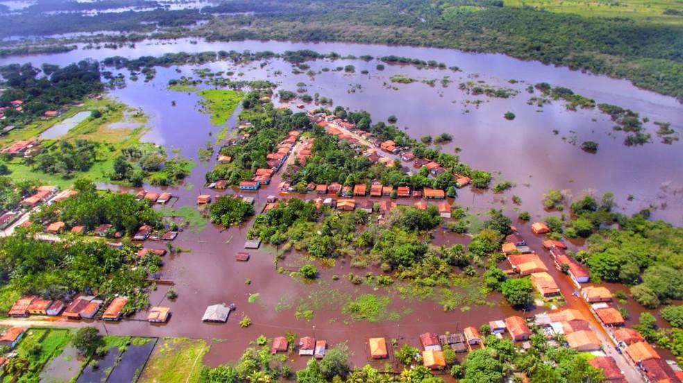 Vista aérea da cidade de Boa Vista do Gurupi após as fortes chuvas — Foto: Ascom/Prefeitura de Boa Vista do Gurupi