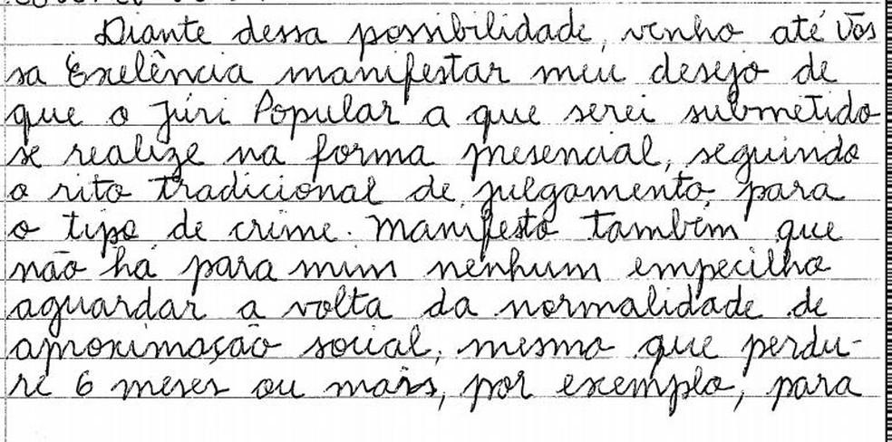 Trecho da carta enviada ao juiz criminal de Cornélio Procópio — Foto: Reprodução/RPC