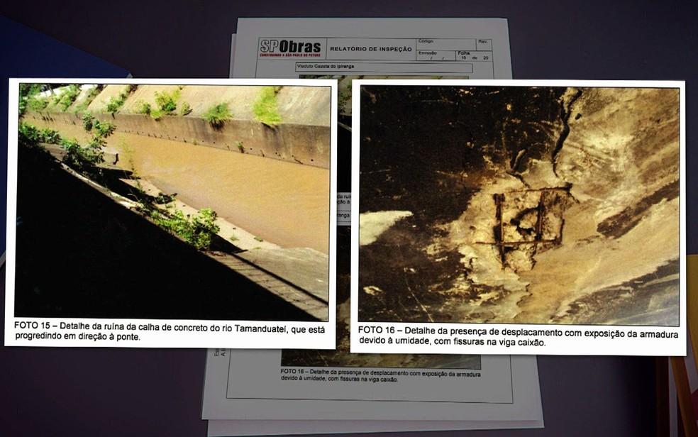 Erosão do Rio Tamanduateí avança em direção ao Viaduto Gazeta do Ipiranga — Foto: TV Globo/Reprodução