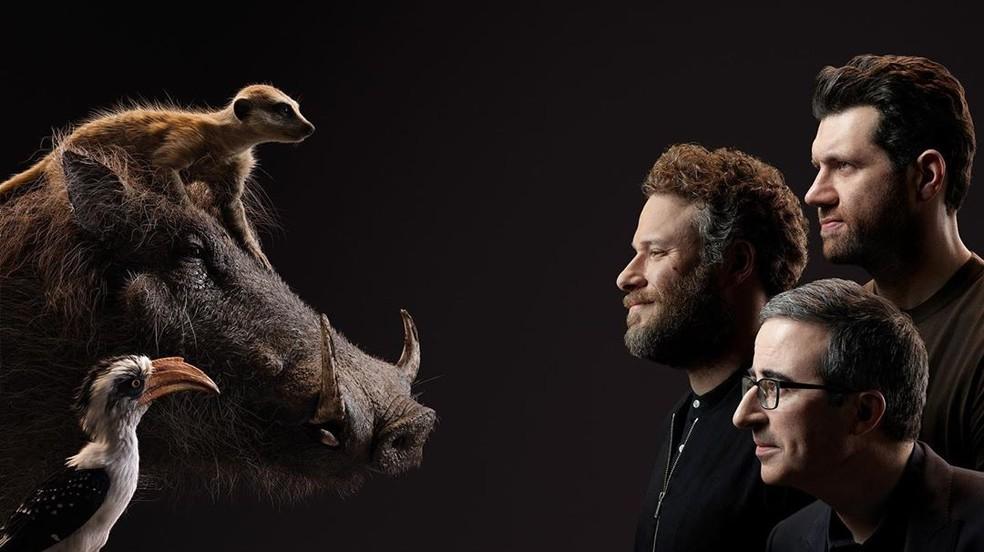 Billy Eichner (Timão), Seth Rogen (Pumba) e John Oliver (Zazu) — Foto: Divulgação/Disney