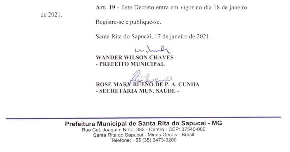 Covid-19: atividades não essenciais são suspensas por 15 dias em Santa Rita do Sapucaí, MG