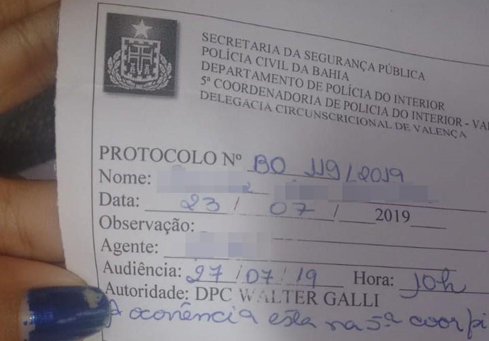 Segundo a assessoria da Polícia Civil, a família registrou o caso na 5ª Coordenadoria Regional de Polícia do Interior (Coorpin) de Valença, no mesmo dia do caso, quando uma guia para exame pericial foi expedida.  — Foto: Arquivo Pessoal