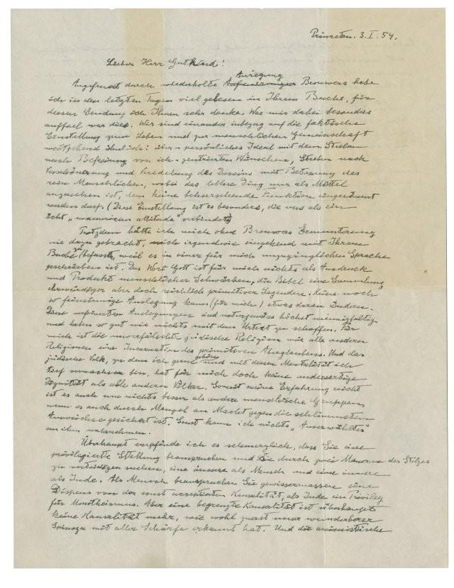 Carta escrita por Einstein (Foto: Reuters)