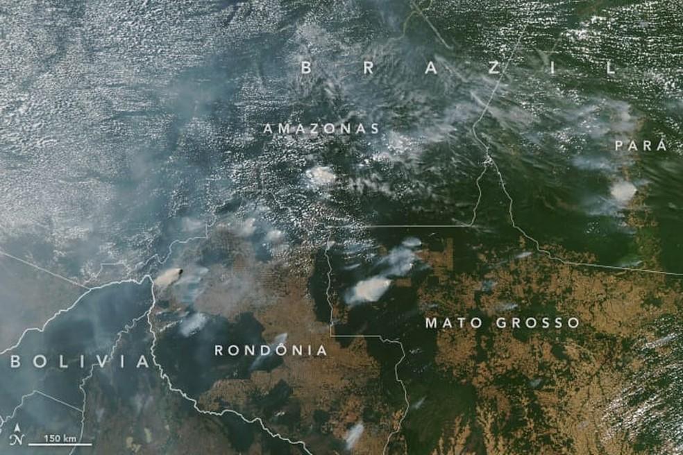 Fumaça de queimadas sobre a Amazônia — Foto: Aqua/Nasa/Reprodução