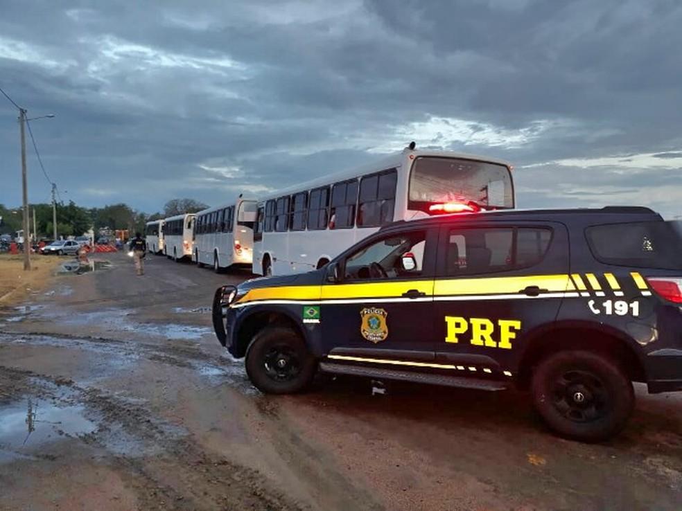 Quatro ônibus foram apreendidos por transporte irregular de estudantes, em Salgueiro. — Foto: Polícia Rodoviária Federal