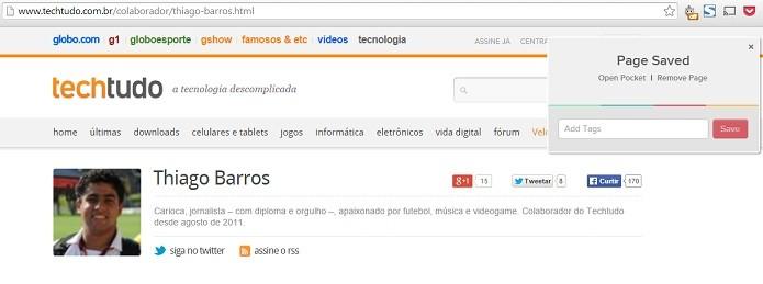 Salvando conteúdo pelo PC, usuário pode ler depois no celular (Foto: Reprodução/Thiago Barros)