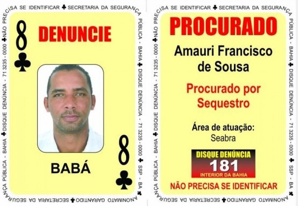 Amauri Francisco de Souza, conhecido como Babá, é suspeito de chefiar quadrilha (Foto: Divulgação / SSP-BA)