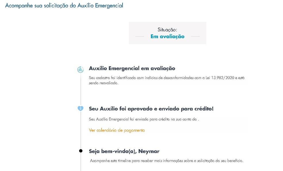"""Auxílio em nome de Neymar foi """"aprovado"""" e está com status de """"em avaliação"""" — Foto: Reprodução/Caixa Econômica Federal"""