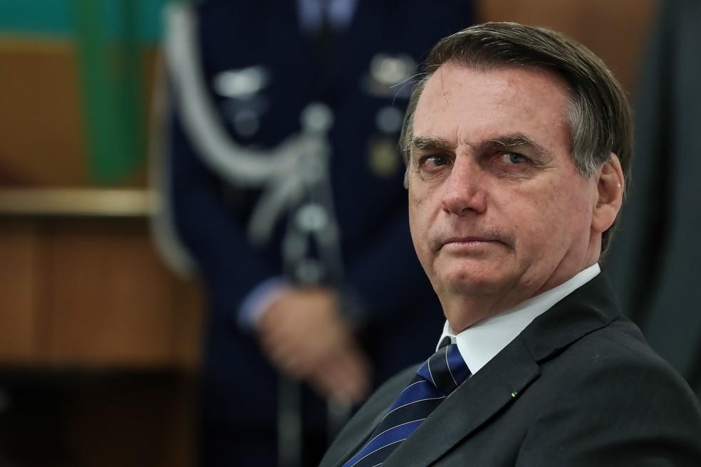 O presidente Jair Bolsonaro durante reunião com executivos de empresas no Palácio do Planalto nesta quinta-feira (22)  — Foto: Marcos Corrêa/PR