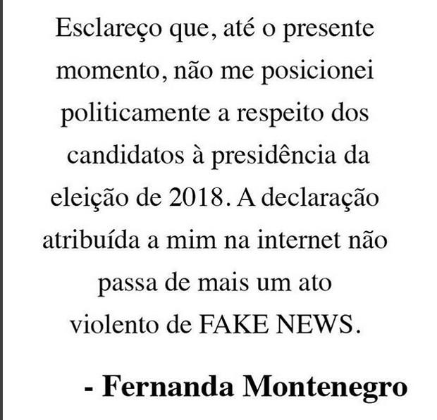Fernanda Montenegro esclarece não ter se posicionado politicamente (Foto: Reprodução/Instagram)