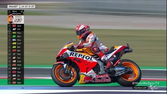 Nos metros finais, Marc Márquez supera o francês Fabio Quartararo e vence MotoGP em San Marino