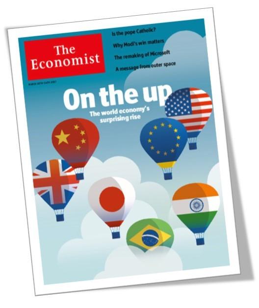 Economist (16 março 2017) aponta que o crescimento da economia mundial está indo melhor que o esperado. Repare o balãozinho do Brasil ali aparecendo. Será mesmo?