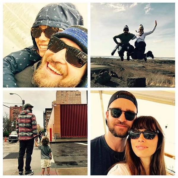 O músico Justin Timberlake com a esposa, a atriz Jessica Biel, e o filho dos dois (Foto: Instagram)