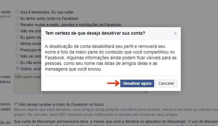 Caixa de confirmação para desativar conta no Facebook temporariamente (Foto: Reprodução/Raquel Freire)