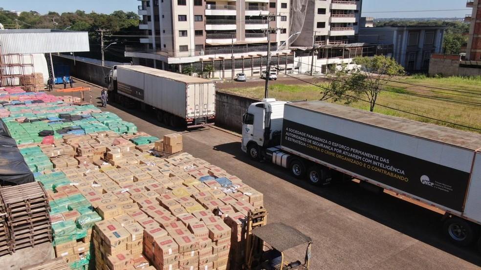 Quase 200 toneladas de cigarros contrabandeados serão destruídos, em Foz do Iguaçu — Foto: Receita Federal/Divulgação