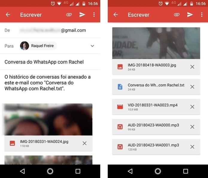 Envio de conversa do WhatsApp por e-mail (Foto: Reprodução/Raquel Freire)
