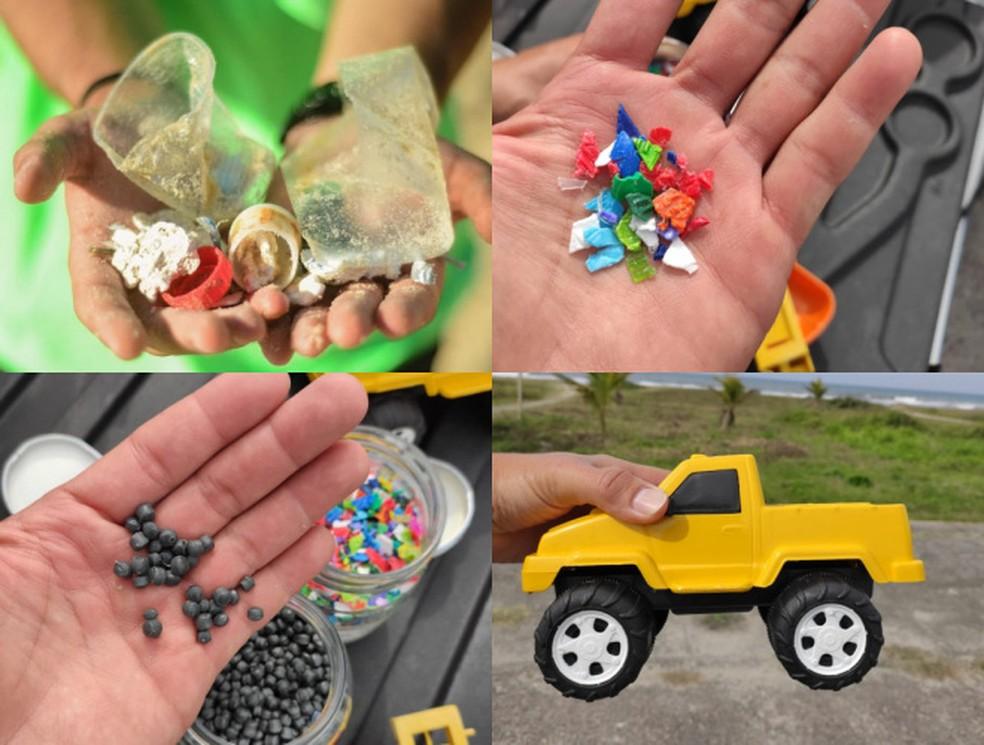Resíduos coletados nas praias são separados por categorias. Material plástico é triturado, granulado e transformado em brinquedos — Foto: Divulgação/ONG Eco Local Brasil