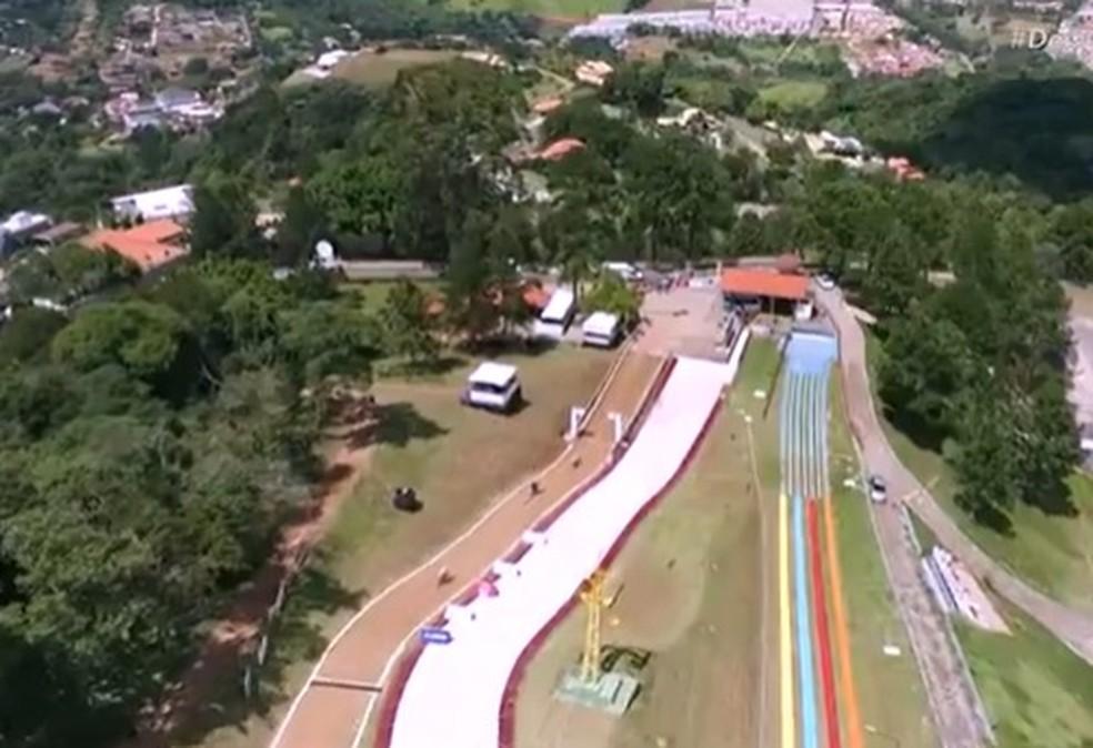 Ciclismo downhill, imagens aéreas da pista — Foto: Reprodução
