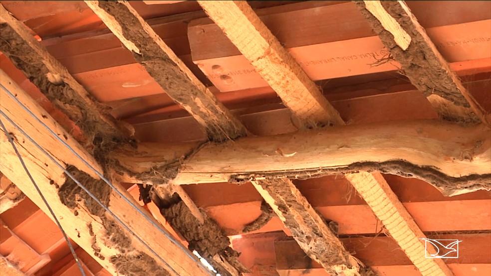 Ripas no telhado da Escola Raimundo Paixão estão infestadas por cupins e colocam os alunos em situação de risco. (Foto: Reprodução/TV Mirante)