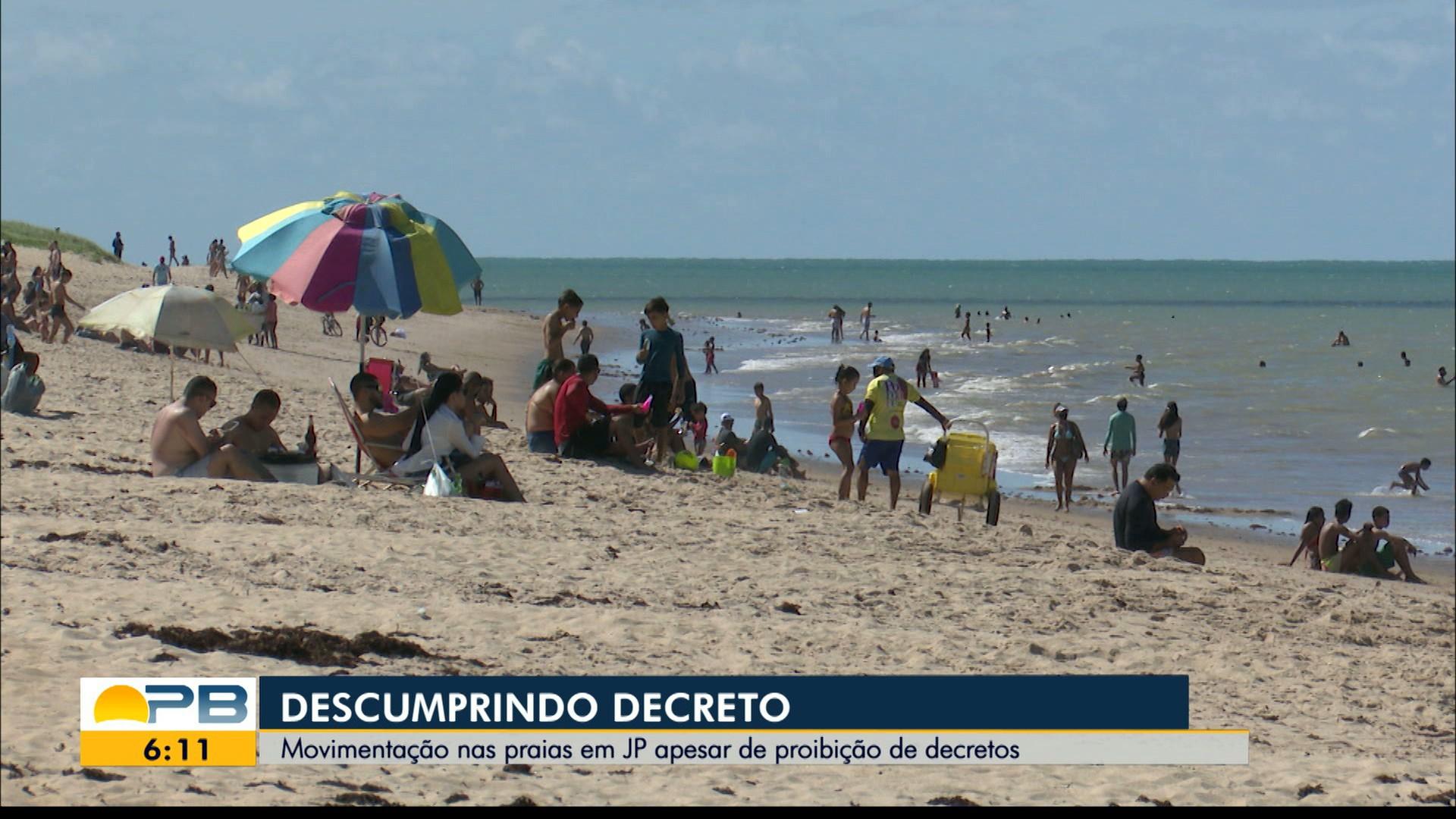 Praias continuam sendo ocupadas no fim de semana, em João Pessoa, mesmo com proibição