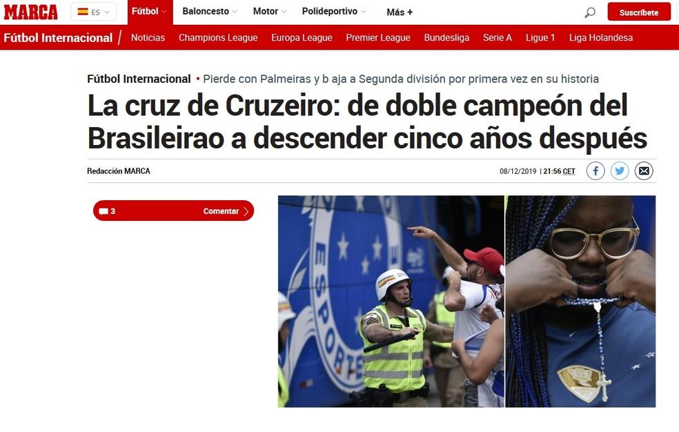 Marca, da Espanha, sobre a queda do Cruzeiro — Foto: Reprodução