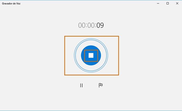 Note a movimentação dos círculos na captação de som e encerre a gravação (Foto: Reprodução/Barbara Mannara)