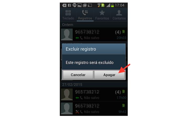 Excluindo um registro de chamada recebida ou realizada no Android (Foto: Reprodução/Marvin Costa)