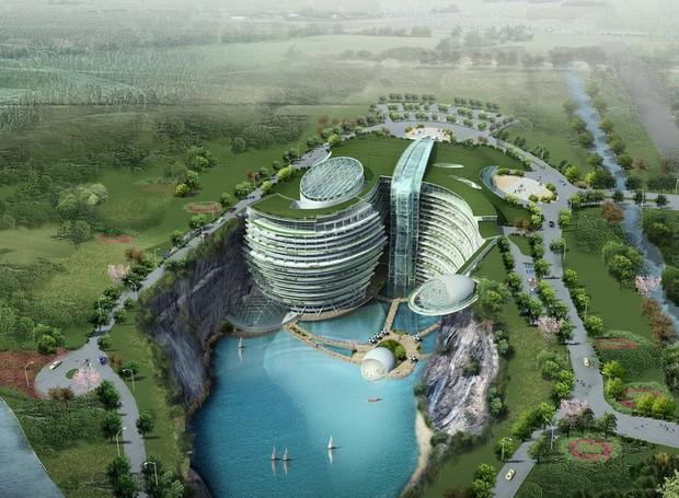 Hotel nas falésias em Shanghai (Foto: Atkins/ Reprodução)