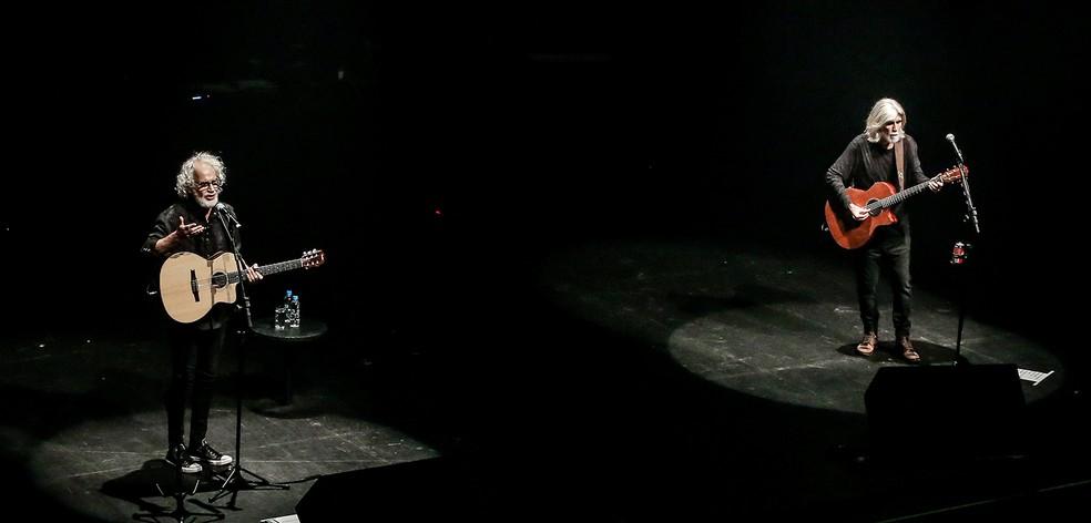 Renato Teixeira e Oswaldo Montenegro cantam 22 músicas em roteiro aberto com medley instrumental — Foto: Ricardo Nunes / Divulgação Vivo Rio