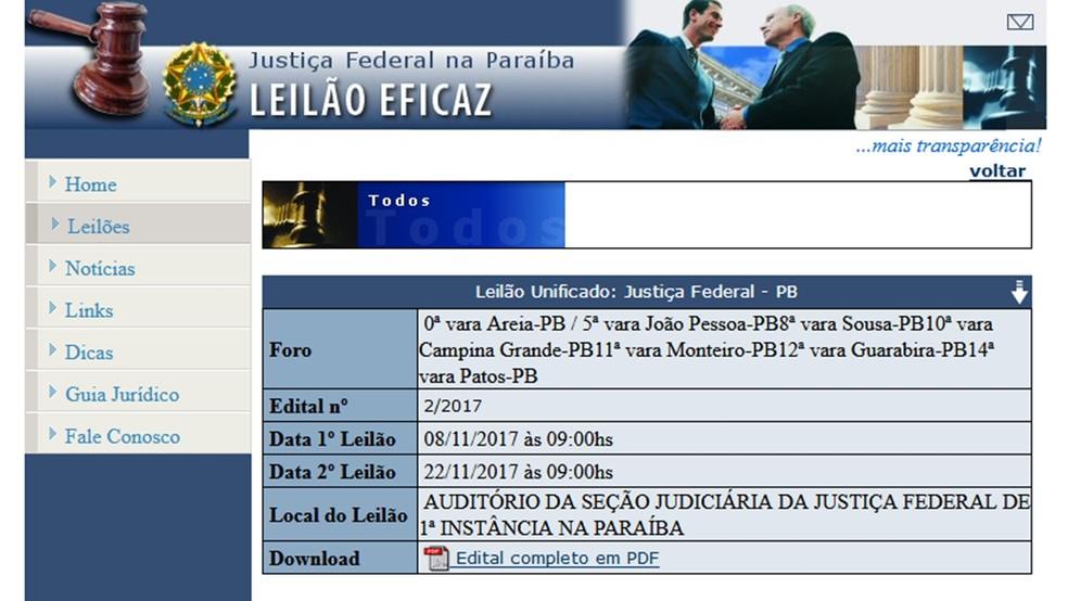 Leilão da Justiça Federal da Paraíba acontece nesta quarta-feira (22) (Foto: Reprodução/web.jfpb.jus.br/leilaoJFPB)