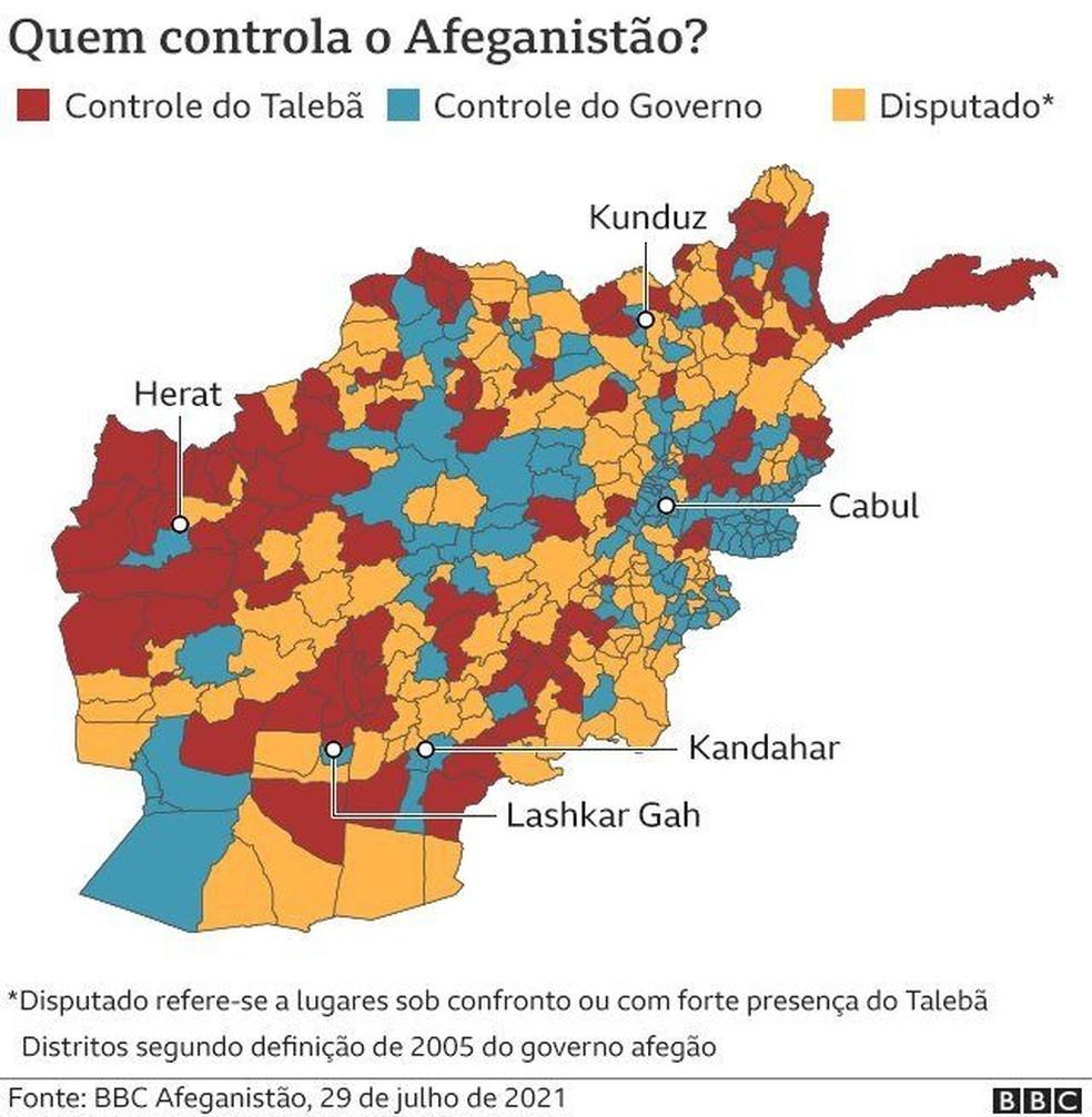 Quem controla o Afeanistão? O governo ou o Talibã? — Foto: BBC