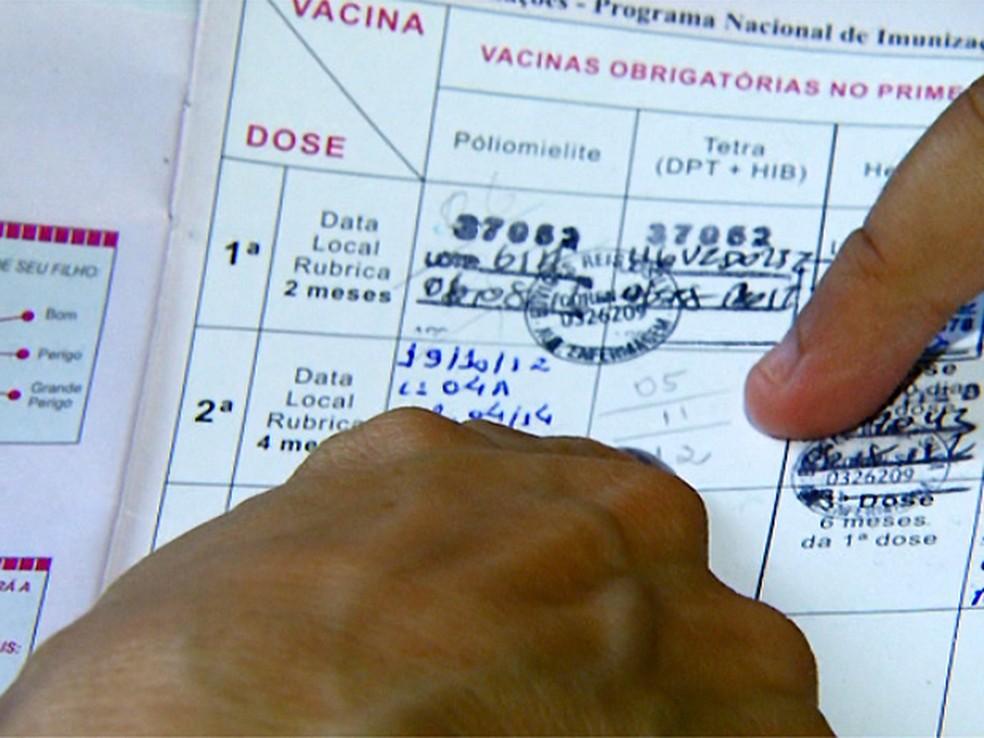 Antigas carteirinhas de vacinaçao e sistema sem controles dificultam controle de doenças; meta do Ministério da Saúde é de total informatização do registro de vacinas  (Foto: Reprodução EPTV)