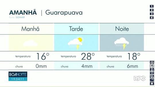 Chuva deve continuar nesta quinta-feira em Guarapuava