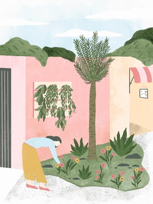 Ilustração No jardim de Ananda Apple, dezembro de 2018 (Foto: Ilustração Anália Moraes / Editora Globo)