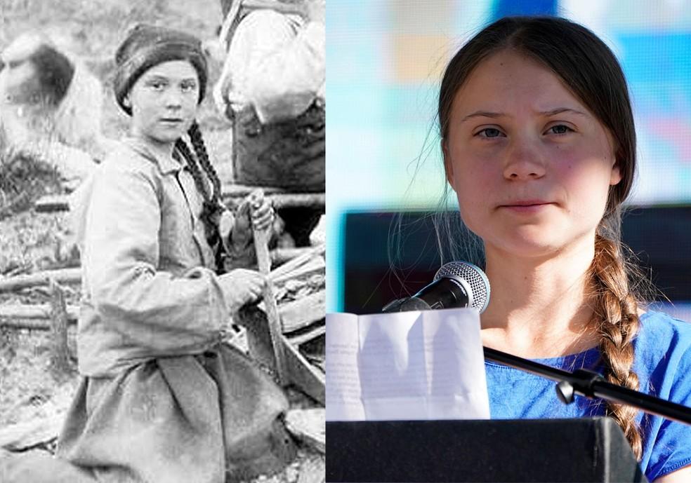 Lado a lado, detalhe de duas fotos: crianças operam equipamento em mina de ouro na região de Yukon, no Canadá, em 1898 e, em cores, Greta Thunberg. — Foto: Eric A. Hegg/University of Washington Libraries, Special Collections e REUTERS/Mike Blake