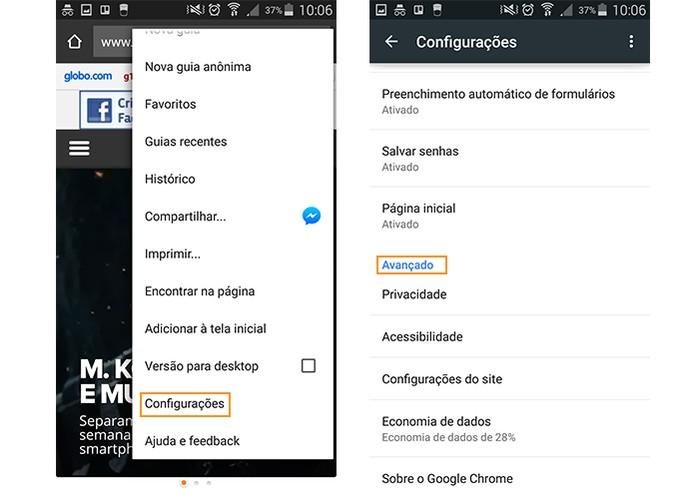 Acessando as configurações avançadas pelo navegador mobile (Foto: Reprodução/Barbara Mannara)