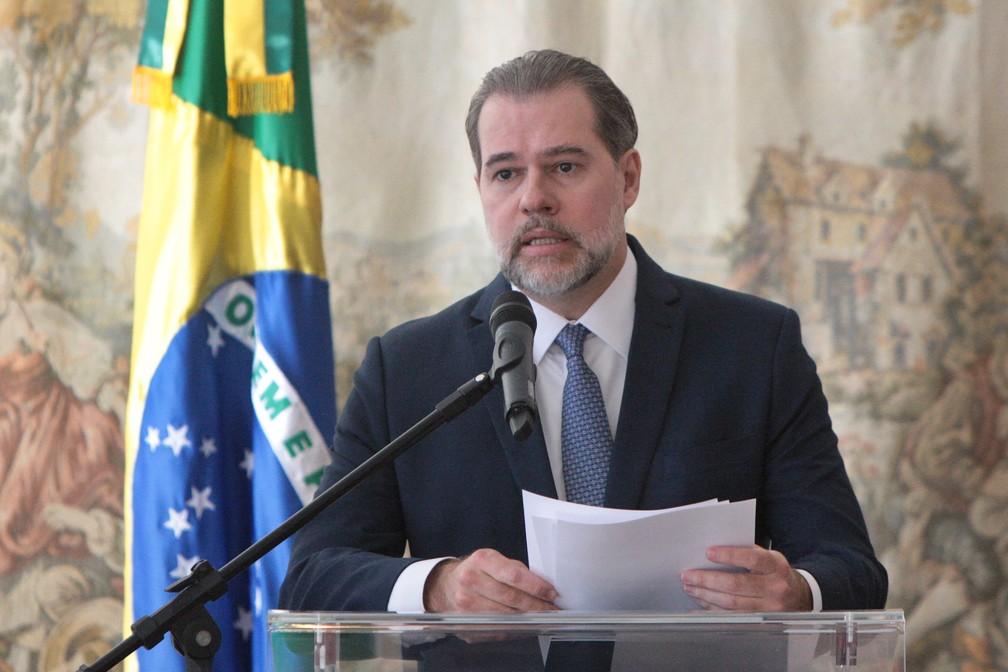O presidente do Supremo Tribunal Federal (STF), Dias Tofolli, durante balanço do primeiro semestre no início de julho — Foto: Carlos Moura/SCO/STF