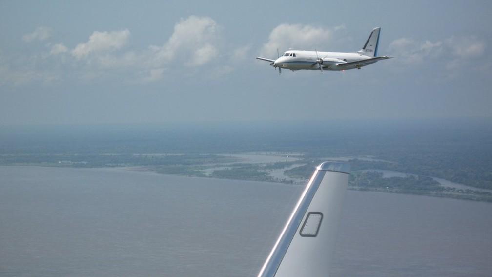 Os aviões alemães G1 e G5 usados pelos cientistas do GoAmazon para estudar a atmosfera amazônica — Foto: Beat Schmidt