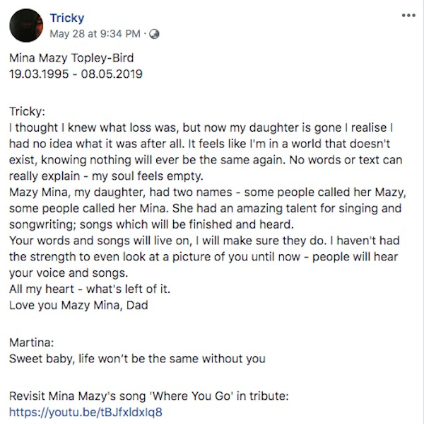 O post do músico Tricky, da banda Massive Attack, sobre a morte da filha (Foto: Facebook)