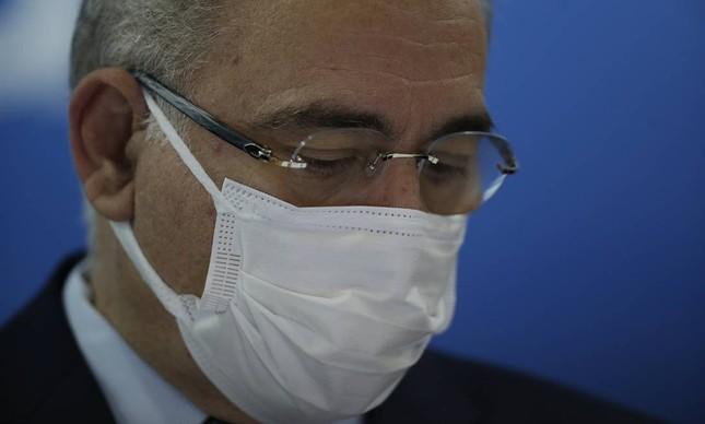 O ministro da Saúde, Marcelo Queiroga, durante a entrevista sobre distribuição de doses da vacina Covid-19