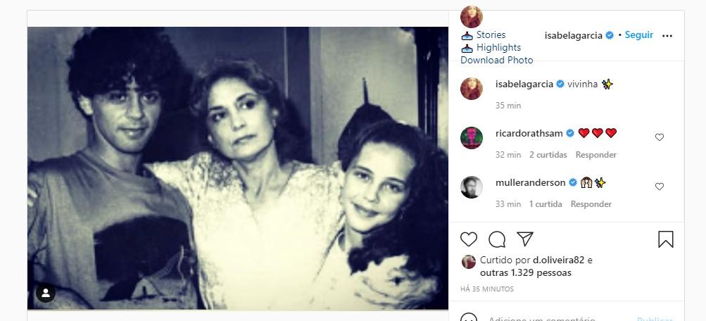Isabela Garcia: adeus a Eva Wilma (Foto: Reprodução Instagram)