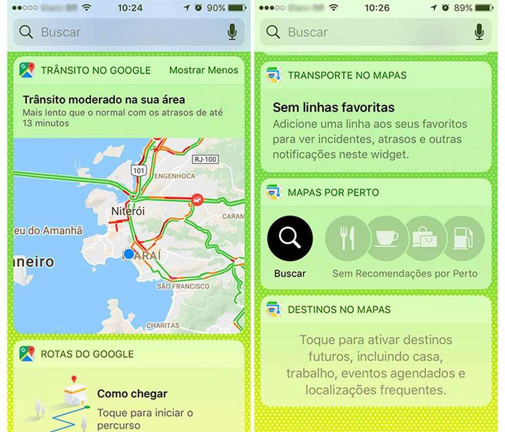 O trânsito é exibido em tempo real em um dos widgets do Google Maps. À direita, as três opções de widgets disponíveis para o Apple Maps. (Foto: Reprodução/Raísa Chiarelli)
