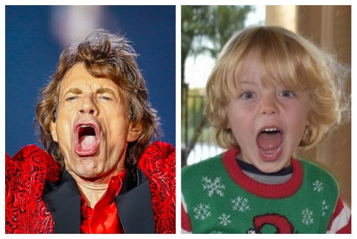 O músico Mick Jagger em um show do Rolling Stones e o filho caçula do artista, Deveraux (Foto: Getty Images/Instagram)